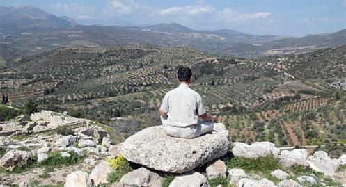 Yoga on the mountain in Greece